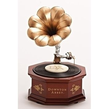 "8.75"" Downton Abbey Animated Musical Vintage Phonograph Table Top Decoration"