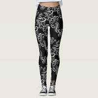 Personalize beautiful black white floral legging