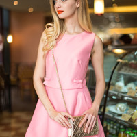 Pink Bow Waist Sleeveless A-line Dress - Choies.com