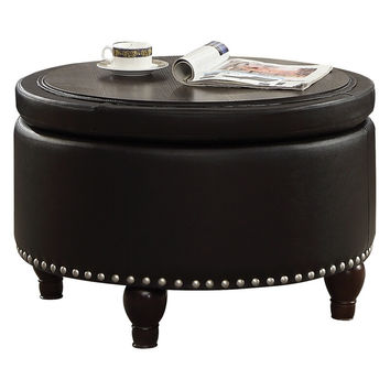 Acme 80425 Essick II black faux leather round storage ottoman
