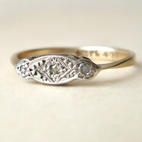 Antique Diamond Engagement Wedding Ring, Platinum, Diamond & 9k Gold Edwardian Ring Approximate Size 5.5