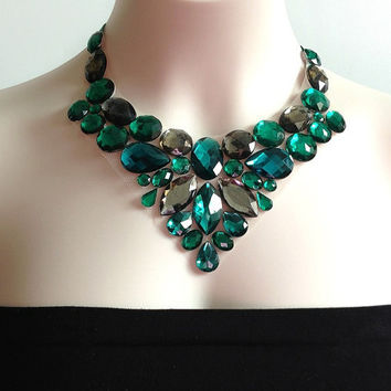 emerald bib necklace - emerald green, real and grey color rhinestone bib necklace, prom necklace, bridesmaids, wedding necklace, gift or for