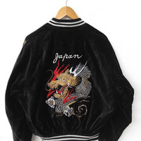 CRAZY SALE 25% SUKAJAN Vintage 80's Japan Dragon Fire Yokosuka Tokyo Embroidered Souvenir Bomber Velvet Black Varsity Jacket L