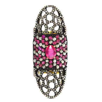 3.47ct Ruby with Pave Diamonds in Sterling Silver & Gold Exotic Knuckle Ring