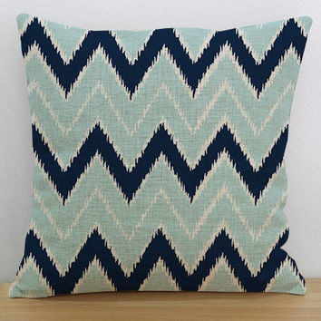 Aqua and navy blue chevron geometric pillow cover, euro sham Zig Zag Pillow, Valentines gift, nursery decor, accent pillows, Throw Pillows