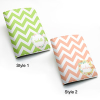 Chevron Zigzag Custom Name Personalized PU Leather Passport Holder Case Travel Wallet Cover -- custom name monogram flower floral rose (K37)