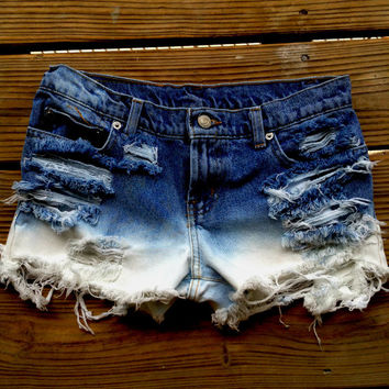 Ralph Lauren Low Rise Dip Dyed Distressed Denim Bleached Ombre Shorts