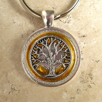 Tree of Life Keychain: Yellow - Mens Keychain - Men Keyring - Tree Keychain - Celtic Keychain - Womens Keychain - Spiritual - Boyfriend Gift