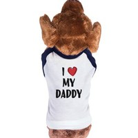 I Heart My Daddy-Unisex Navy/White T-Shirt