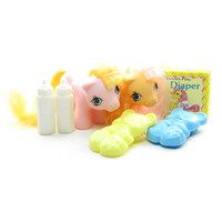 Dibbles & Nibbles Newborn Twins G1 My Little Pony Set with Accessories