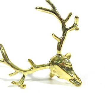 Deer Skull Ring Adjustable Gold Tone Taxidermy Elk Antler RF31 Reindeer Head Fashion Jewelry