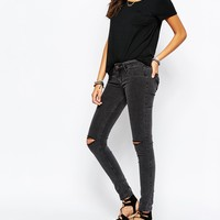 Hollister Destroyed Low Rise Super Skinny Jean With Ripped Knees