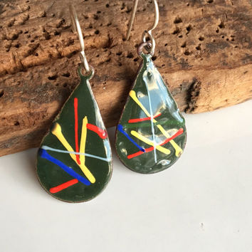 Enamel on Cooper, Enamel Earrings, Teardrop Earrings, Dark Green, Multi Colored Enamel, Etsy, Etsy Jewelry