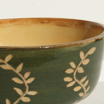 Green and Gold Bowl with vine design - Hand thrown, stoneware pottery