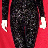 Black Velvet with Silver Sparkles Unitard Catsuit Bodysuit Medium
