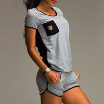 Leisure Back Hollow Out Short-Sleeved Suit