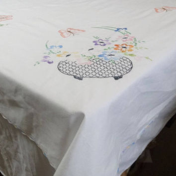 1960s Vintage Hand Embroidered Small Tablecloth in White with Flowers, Butterflies, Crocheted Edge, 53 x 50 Inches, Vintage Table Linens