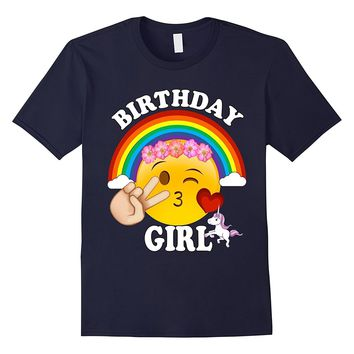 Emoji Birthday Shirt For Girls Unicorn Rainbow Heart Kiss