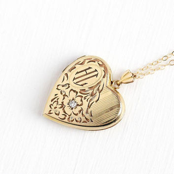 Diamond Locket Necklace - Initials HL Vintage Heart Pendant Art Deco Era 1940s - 10k Gold Filled Photograph Romantic Flower Pendant Jewelry