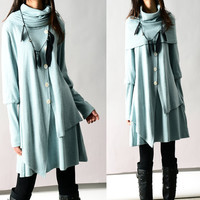 Fruit of Summer - poncho collared layered woolen dress (Q3101)
