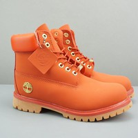Timberland Leather Lace-Up Icon Premium Boot High Orange - Best Deal Online