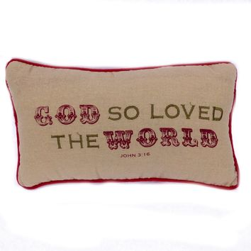 Christmas Gifts of Glory Accent Throw Pillow 10-in x 6-in (God So Loved The World)