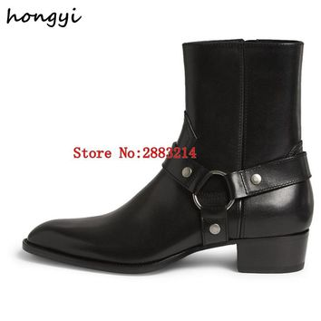 Handmade Vintage Men Chelsea Boots Genuine Leather Suede Rome Style Man Ankle Boots Zipper Autumn Winter Male Casual Shoes