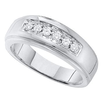 14kt White Gold Mens Round Diamond Single Row Polished Wedding Band Ring 1/4 Cttw - FREE Shipping (US/CAN)