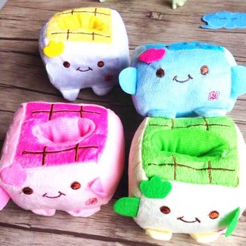 1pcs/lot New Kawaii  Japanese Tofu series Multifunction Stationery Holder plush  pen holders children gifts