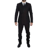 Dolce & Gabbana Purple Black Silk Slim 3 Piece Suit Tuxedo