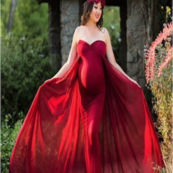 Off The Shoulders Maternity Gown (Multiple Colors Available) - CCO54