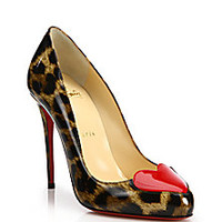 Christian Louboutin - Printed Patent Leather Heart-Toe Pumps - Saks Fifth Avenue Mobile