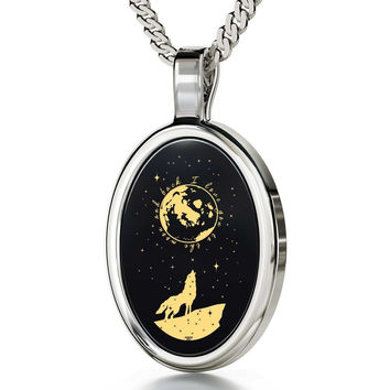 """I Love You to the Moon and Back"", 14k White Gold Necklace, Onyx"