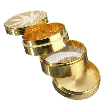 4 Layers Leaf Shape Herb Spice Grinder Metal Plate Magnetic Pollinator Hand Hookah Pipe Tobacco Smoking Crusher Smoke Filter