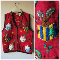 Ugly Christmas Sweater! Kitsch, Tacky Festive Beaded Holiday Sweater Vest! Hipster Button Up Party Sweater! Singing Santa, Elves & Reindeer!