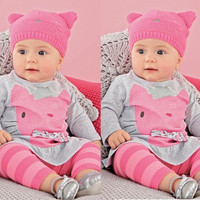Hot 12 24 Month Clothes Set Baby Infant Girl Bowknot Top Shirt Dress+Pant Outfit