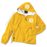 Monogrammed Solid Pullover Rain Jacket - Yellow