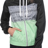 Empyre Sutton Black & Mint Tribal Windbreaker Jacket