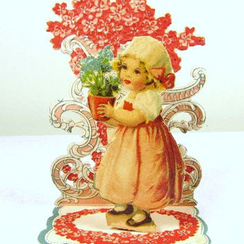 Germany Little Blond Girl Pink Flowers Flowerpot Die Cut Fold Out Embossed Valentine Card