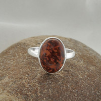 Genuine Spiderweb Jasper Oval 925 Sterling Silver Bezel Ring, 10x14mm - #1135