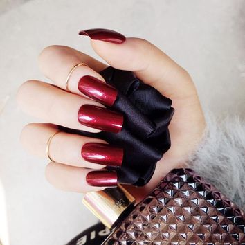 New Arrival 24pcs Specular Reflection Fake Nail Tips Wine Red Long Full False Nails Acrylic Manicure Z431
