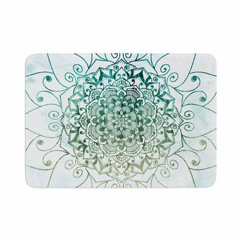 "Nika Martinez ""ELEGANT MANDALA"" White Green Geometric Arabesque Illustration Mixed Media Memory Foam Bath Mat"