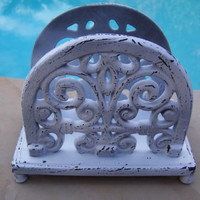Shabby Ornate Cast Iron Chic Napkin Mail Holder Table Desk Top