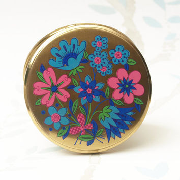 Powder Compact, Boots Compact, Mirror Compact, Flower Pattern, Handbag Mirror, Pink Powder Compact, Patterned Compact, Retro Floral - 1960s