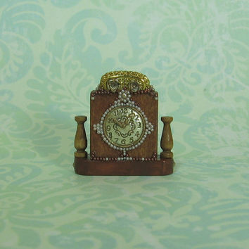 Dollhouse Miniature Ivory Beaded Wood Mantel Clock
