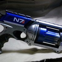 Blue MASS EFFECT inspired Nerf Maverick Steampunk SciFi Videogame N7