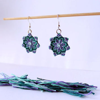 Hippie Mandala Textile Flower Macrame Earrings green violet