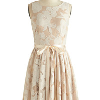 ModCloth Mid-length Sleeveless A-line Pearl Peonies Dress