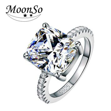 Moonso Fashion Cushion Cut Silver Color Ring Finger and CZ Stone for Women Jewelry Engagement Ring LR1953