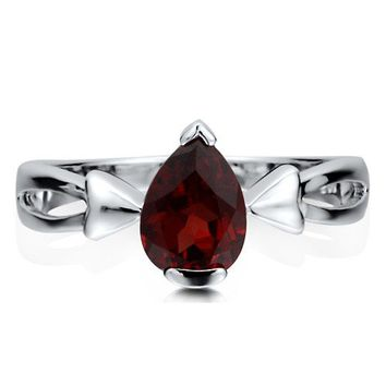 Sterling Silver 925 Pear Shaped Natural Garnet Gemstone Solitaire Ring #r455